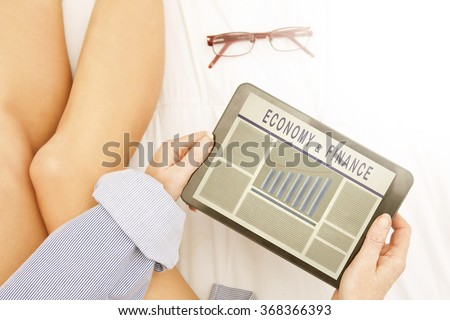 electronic press of the economy and finance - stock photo
