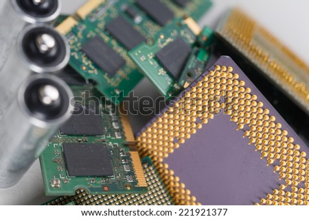 Electronic recycling concept background - stock photo