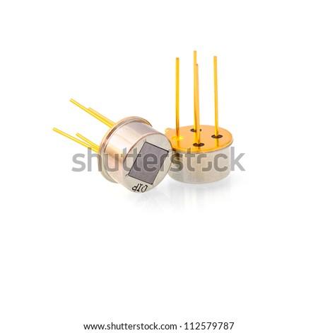 Electronic sensor. White background. Isolated. With shade. - stock photo
