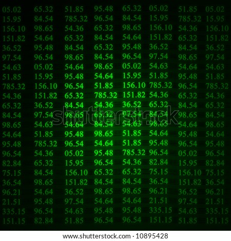 Electronic stock numbers showing up green - stock photo