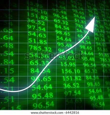 Electronic stock numbers with arrow going up - stock photo