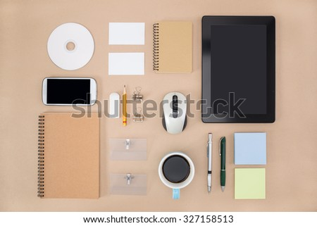 electronic tools in every day life,  notebook tablet Office Supply - stock photo
