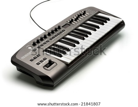 Electronic USB musical keyboard controller - stock photo