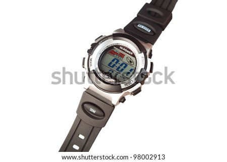 electronic wristwatch isolated on white - stock photo