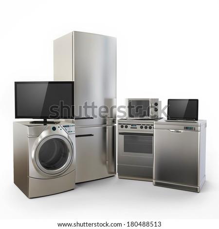 Electronics Gadgets Tv Fridge Microwave Washer  Electric Laptop on White Background - stock photo