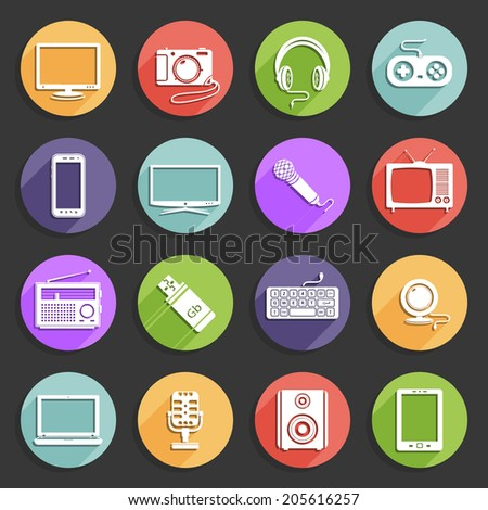 Electronics icons - stock photo