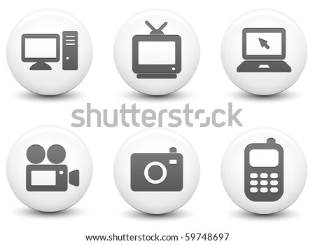 Electronics Icons on Round Black and White Button Collection Original Illustration - stock photo