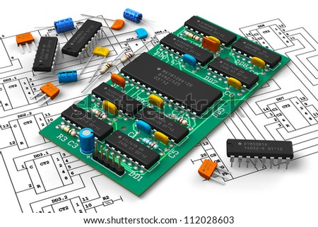 Electronics industry concept: digital circuit board with microchips over schematic diagram isolated on white background - stock photo