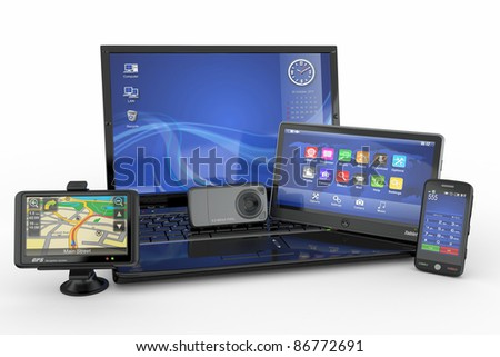 Electronics. Laptop, mobile phone, tablet pc and gps. 3d - stock photo
