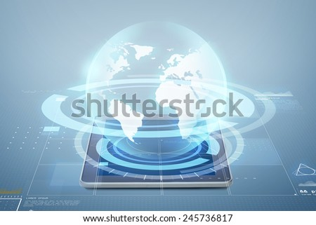 electronics, technology, network and modern gadget concept - tablet pc computer with globe virtual projection above screen over blue background - stock photo