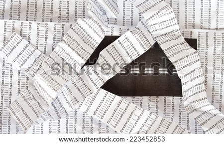 Electrophoresis picture on a crumpled DNA sequence background with crumpled DNA sequence stripes over it - stock photo