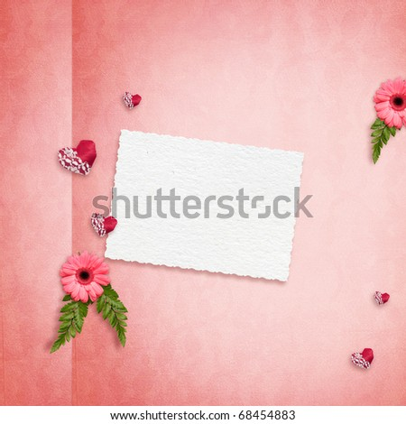 Elegance background with herbera and hearts - stock photo