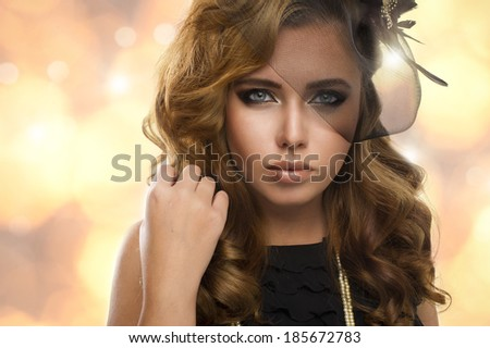 Elegance blonde woman with beauty eyes  - stock photo