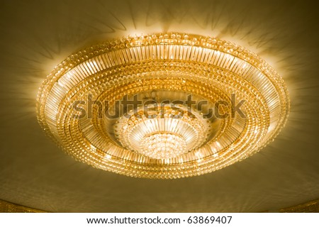 Elegance Crystal Chandelier Close-up - stock photo