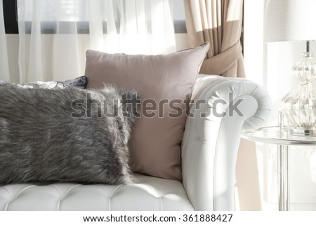elegance cushion on sofa,living room. - stock photo