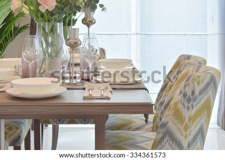 Elegance dining set with classic chair - stock photo