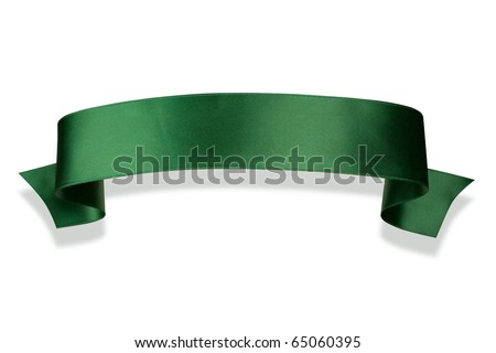 Elegance green ribbon banner with shadow - stock photo