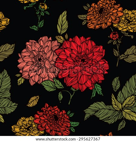 Elegance Seamless pattern with dahlias flowers, floral illustration in vintage style - stock photo