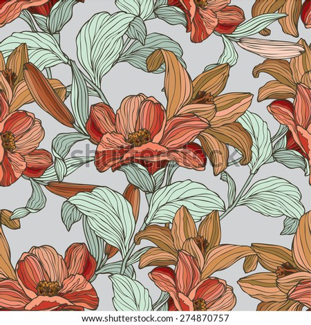 Elegance Seamless pattern with flowers lily, floral illustration in vintage style - stock photo