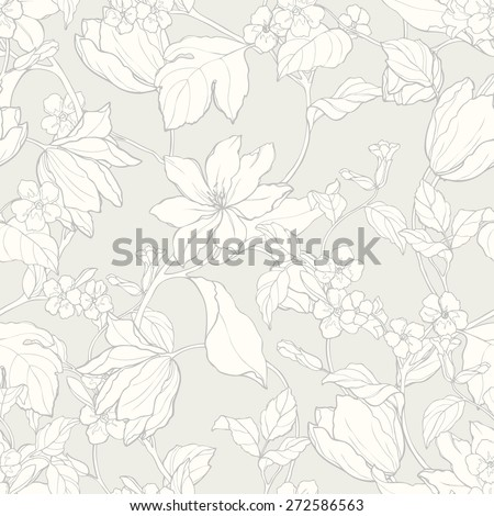 Elegance Seamless pattern with flowers magnolia and tulips, floral illustration in vintage style - stock photo