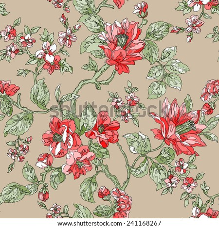 Elegance Seamless pattern with flowers Plumeria, floral illustration in vintage style - stock photo