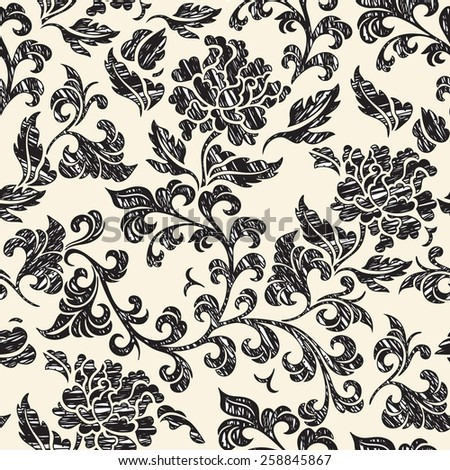 Elegance Seamless pattern with flowers roses, floral illustration in vintage style - stock photo