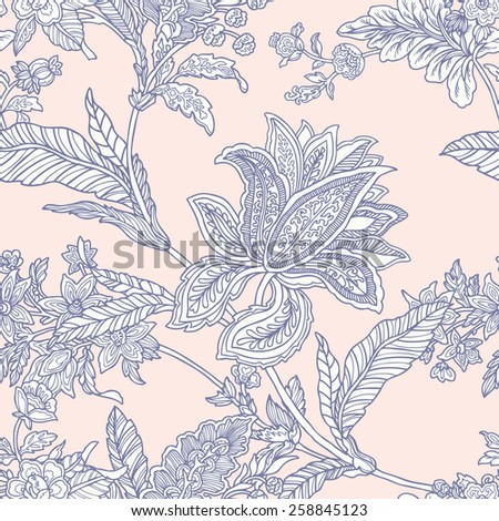 Elegance Seamless pattern with ornament, floral illustration in vintage style - stock photo