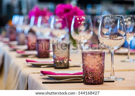 Elegance table set up for dinning room - stock photo