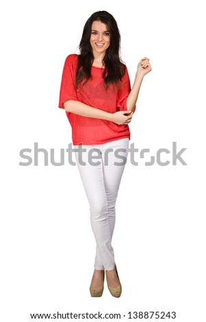 Elegance woman in red blouse - stock photo