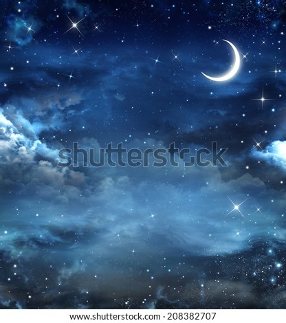 Elegant abstract background of night sky with stars and moon - stock photo