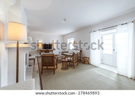 Elegant and comfortable living room interior - stock photo