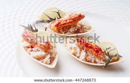 Elegant and delicious morsel of crab and ground for cocktail - stock photo