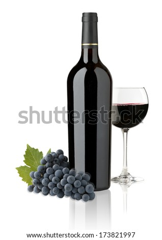 elegant and expensive red glass and bottle wine for mounting graphic design - stock photo
