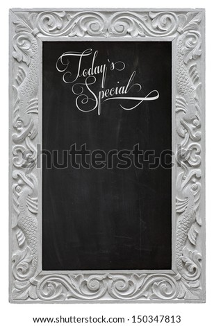 Elegant antique white picture frame with chalkboard - blackboard used as Today`s Special - isolated on a white background - stock photo