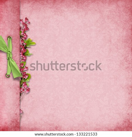 Elegant background with bow and flowers - stock photo