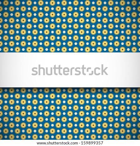 Elegant banner on blue seamless pattern with flowers (raster illustration) - stock photo