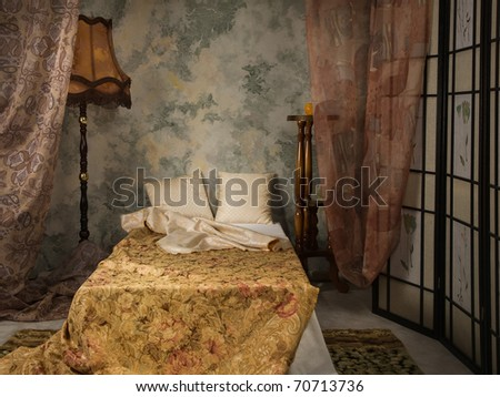 Elegant bedroom interior in the vintage style - stock photo