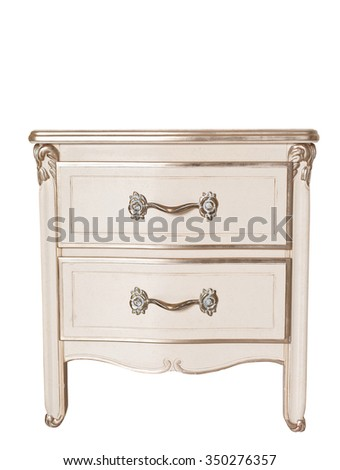 Elegant bedside isolated on white - stock photo