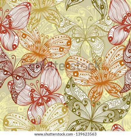 Elegant beige vintage hand drawn seamless background with butterflies. Raster version of the vector image - stock photo