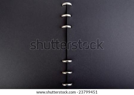 elegant black album ring open ready for editing - stock photo