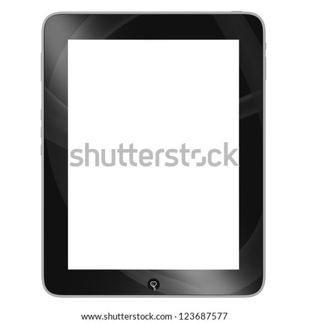 Elegant black tablet, isolated on white - stock photo