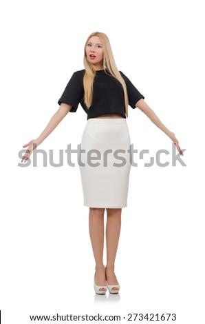 Elegant blonde girl isolated on white - stock photo