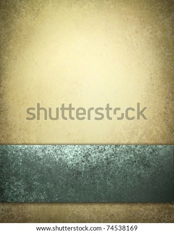 elegant blue and brown background with beige highlight, old grunge texture, sponged blue ribbon design layout, with copy space to add your own text or title - stock photo