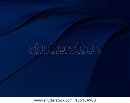 Elegant blue metallic background with 3 flowing lines and space for text - stock photo