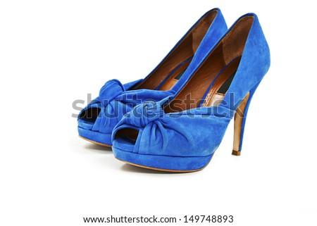 Elegant blue shoes. Isolated on white background - stock photo