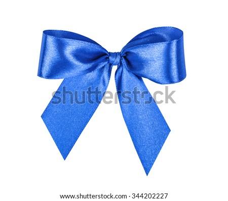 Elegant blue, ultramarine gift ribbon bow, satin, isolated on white - stock photo