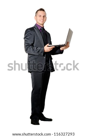 elegant boy at work - stock photo