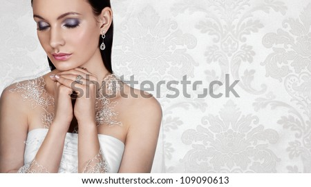 Elegant bride on vintage background. Banner, space for text. - stock photo