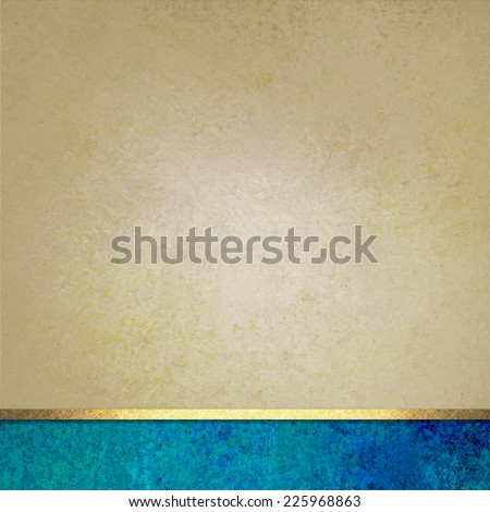 elegant brown background paper with blue footer and gold ribbon accent, beige background, fancy blank poster - stock photo