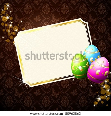 Elegant brown background with gold-decorated Easter eggs (jpg); vector version also available - stock photo